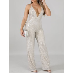 Sexy Full Length Plain Straight Women's Jumpsuit