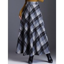 Color Block Ankle-Length Expansion Vintage Women's Skirt