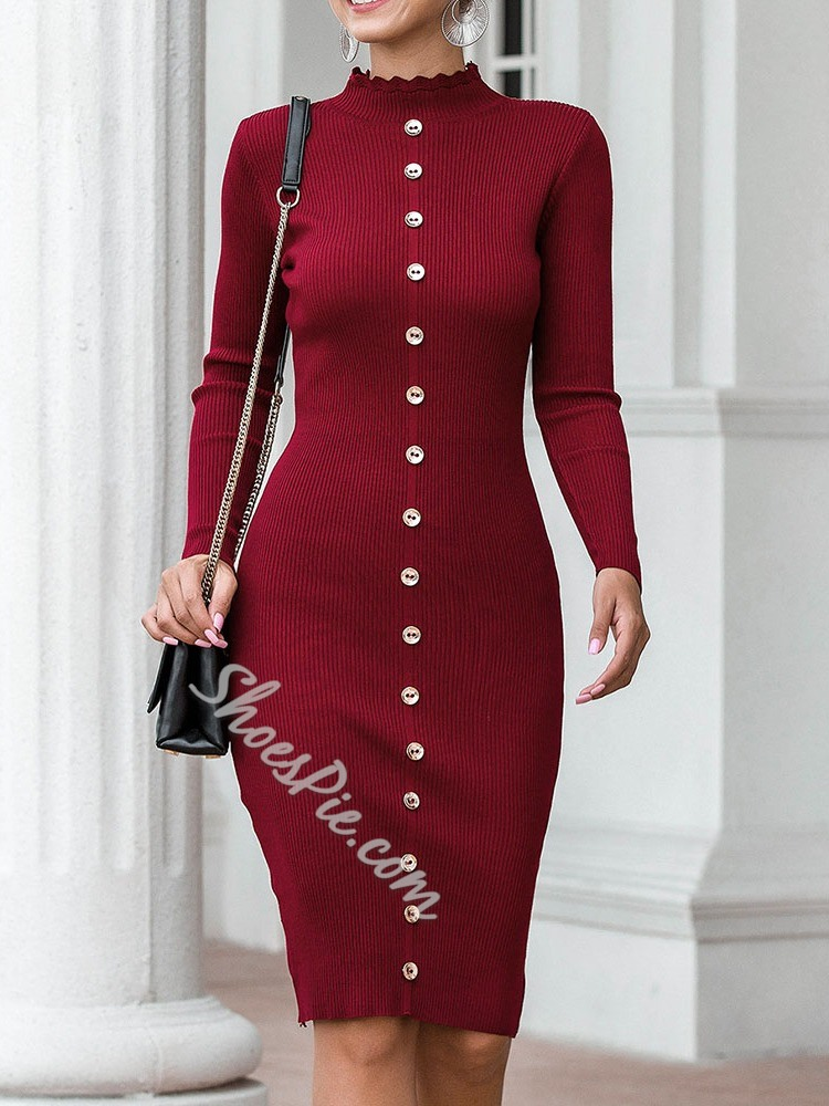 Knee-Length Stand Collar Long Sleeve Single-Breasted Women's Dress