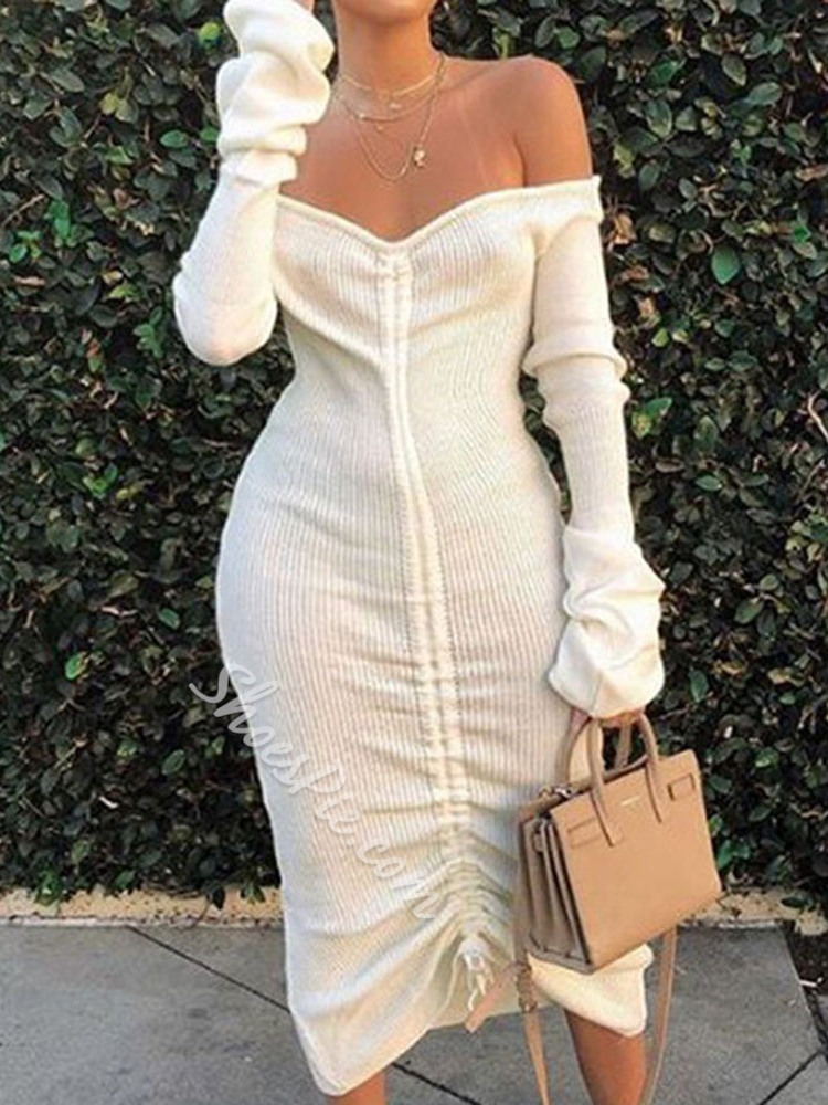 Off Shoulder Long Sleeve Mid-Calf Pleated Mid Waist Women's Dress