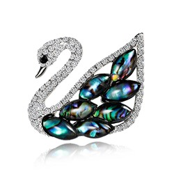 Alloy Animal Rhinestone Swan Brooches