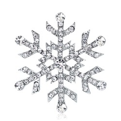 Alloy Romantic Christmas Rhinestone Snowflack Brooches