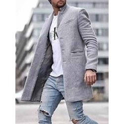 Mid-Length Pocket Plain Fall Straight Coat