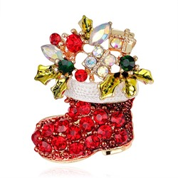 Alloy European Christmas Rhinestone Brooches
