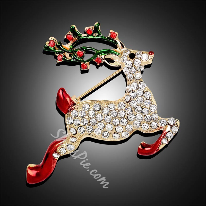 Alloy European Christmas Reindeer Brooches