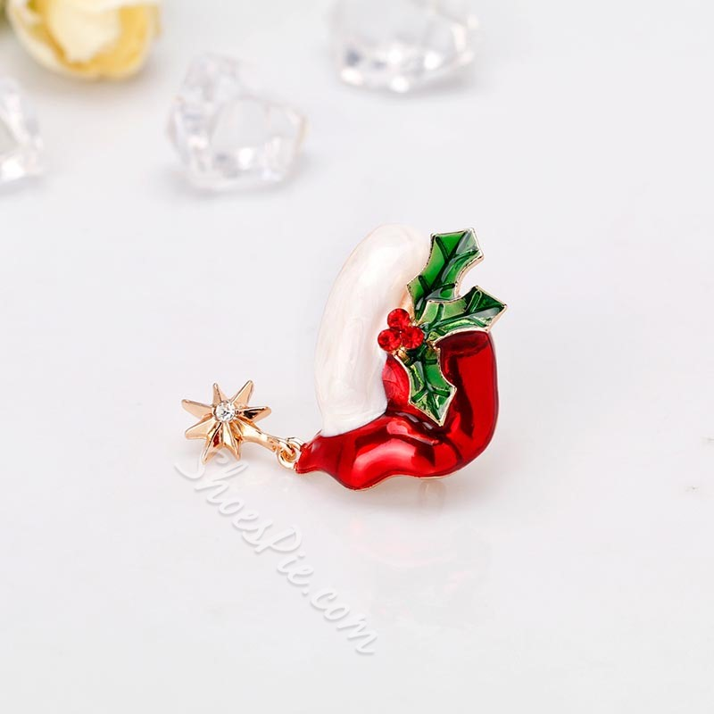 European Alloy Christmas Hat Brooches