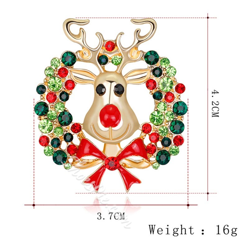 Alloy Animal Christmas Brooches