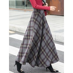 A-Line Ankle-Length Color Block Women's Skirt