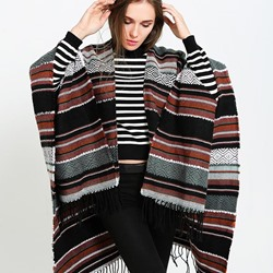 Casual Imitation Cashmere Shawl Stripe Scarves