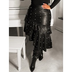 Mid-Calf Bead Asymmetrical Little Black Dress Women's Skirt