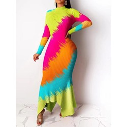Floor-Length Long Sleeve Stand Collar Party/Cocktail Women's Dress