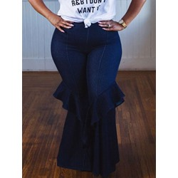 Plus Size Plain Bellbottoms Slim Women's Jeans