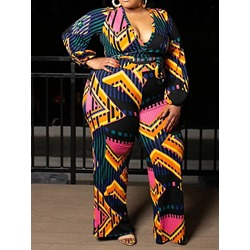 Plus Size V-Neck Lace-Up Pants T-Shirt Loose Pants Women's Two Piece Sets
