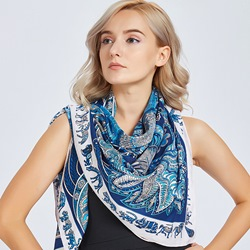 Print Shawl Charmeuse Square Scarves