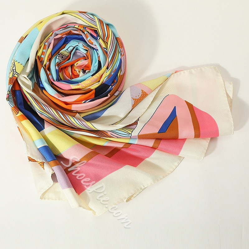 Charmeuse Print Casual Geometric Pattern Scarves