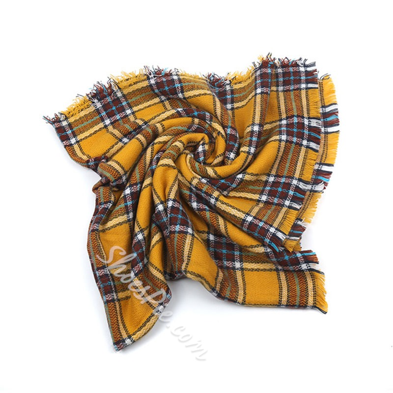 Tassel Imitation Cashmere Casual Plaid Scarves