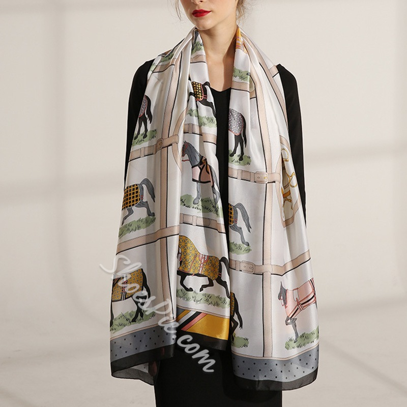Print Scarf Ladylike Cartoon Scarves