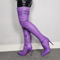 Shoespie Trendy Purple Pointed Toe Side Zipper Knee High Boots