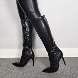 Shoespie Sexy Black Side Zipper Pointed Toe Knee High Boots