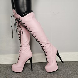 Shoespie Stylish Lace-Up Front Round Toe Knee High Boots