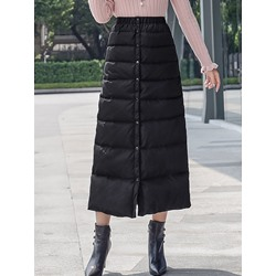 A-Line Plain Button Casual Women's Skirt