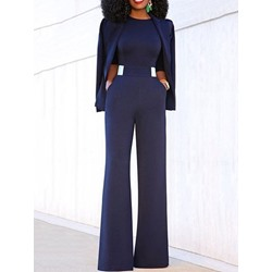 Plain Full Length Loose Fashion Women's Jumpsuit