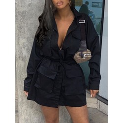 Lapel Mid-Length Lace-Up Casual Women's Trench Coat