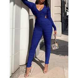 Pleated Ankle Length Skinny Women's Jumpsuit