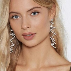 Diamante Plain Rhinestone Anniversary Earrings