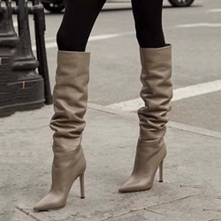 Shoespie Trendy Slip-On Stiletto Heel Pointed Toe Thread Boots