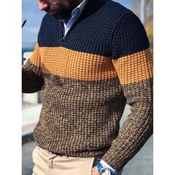 Color Block Standard Loose Casual Sweater