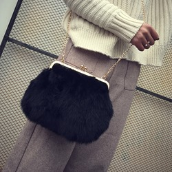 Shoespie Plain Chain Rabbit Hair Rectangle Crossbody Bags