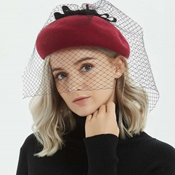 Bowknot Wool Beret Plain Hats
