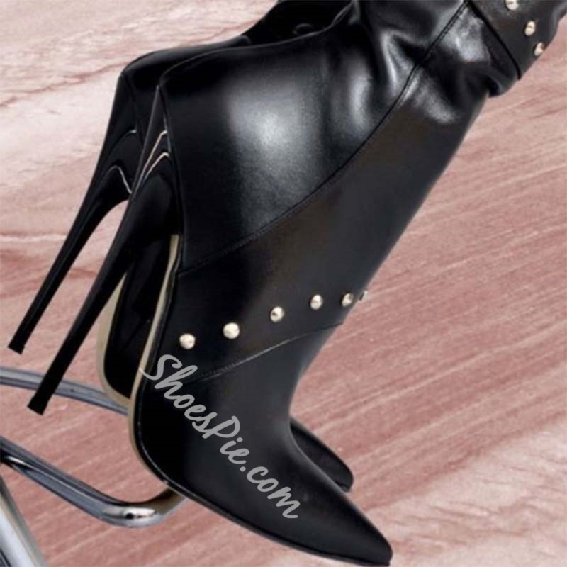 Shoespie Trendy Plain Side Zipper Pointed Toe Casual Boots