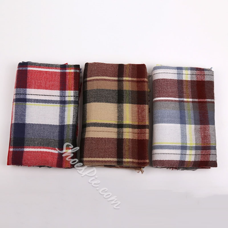 Casual Tassel Imitation Cashmere Plaid Scarves