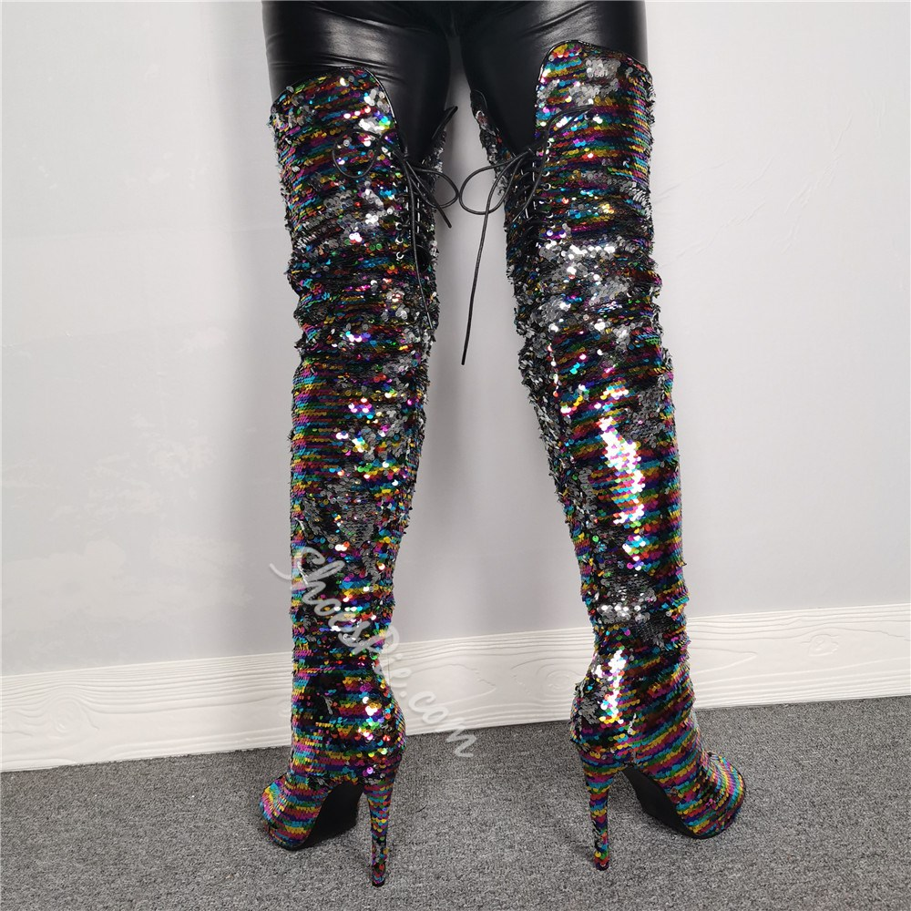 Shoespie Trendy Sequins Side Zipper Peep Toe Knee High Boots