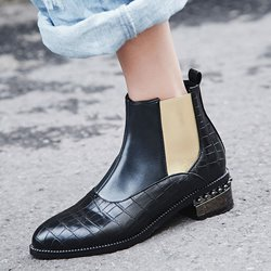 Shoespie Color Block Round Toe Chelsea Ankle Boots