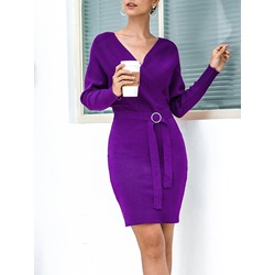 Belt V-Neck Long Sleeve Pullover Women's Dress