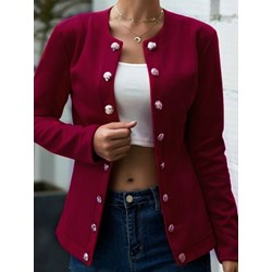 Long Sleeve Double-Breasted Plain Mid-Length Women's Casual Blazer
