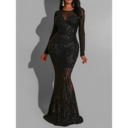 Sequins Floor-Length Long Sleeve Fall Women's Dress