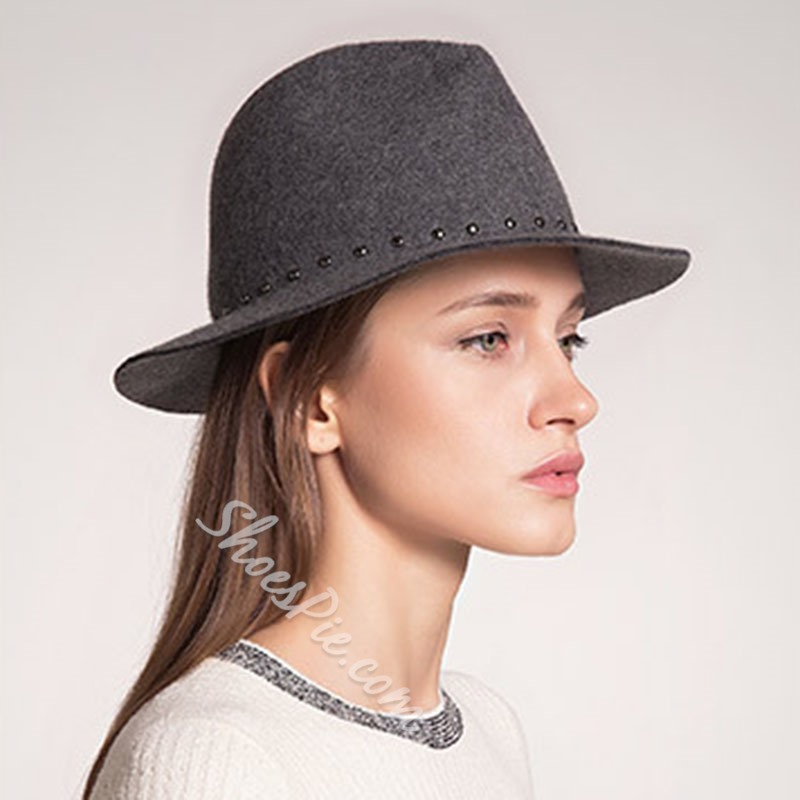 Rivet Wool Vintage Plain Hats