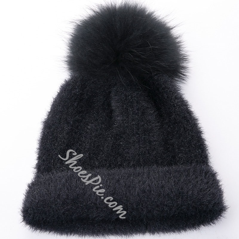 Polyester Pompon Knitted Hat Winter Hats