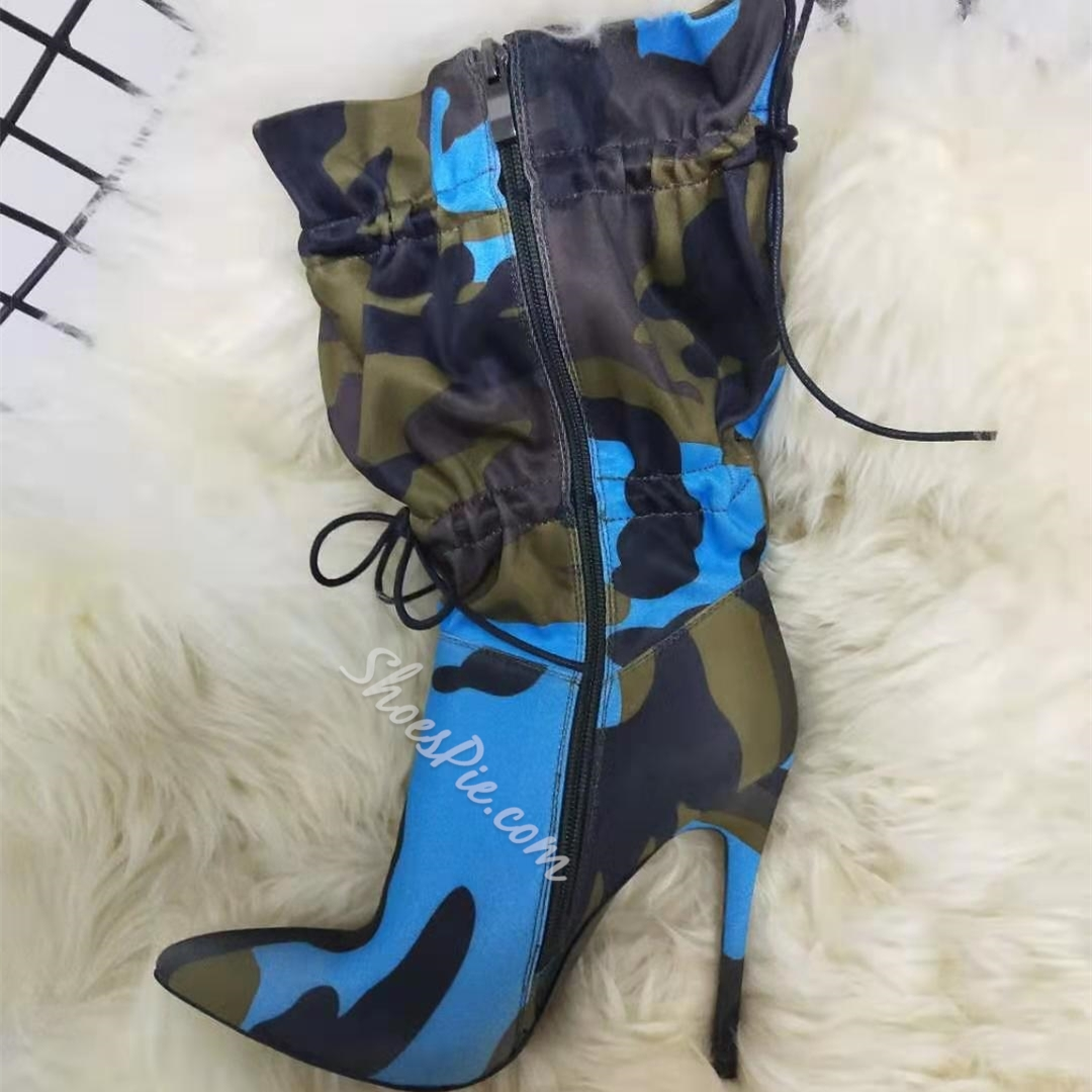 Shoespie Stylish Elastic Pointed Toe Color Block Casual Boots