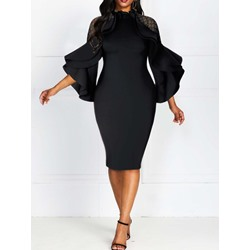 Long Sleeve Falbala Round Neck Pullover Women's Dress