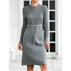 Lace-Up Round Neck Long Sleeve Winter Women's Dress