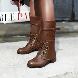 Shoespie Trendy Side Zipper Plain Round Toe Zipper Boots
