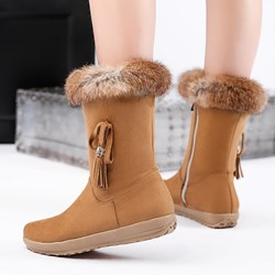 Shoespie Trendy Patchwork Round Toe Side Zipper Snow Boots