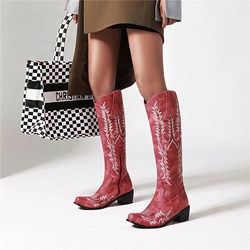 Shoespie Sexy Pointed Toe Slip-On Color Block Western Boots