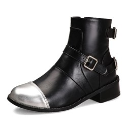 Shoespie Stylish PU Round Toe Color Block Side Zipper Casual Boots
