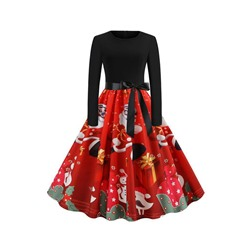 Christmas Long Sleeve Mid-Calf Patchwork Sweet Women's Dress